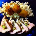 Stuffed Pork tenderLoin with risotto and sweet potatoes