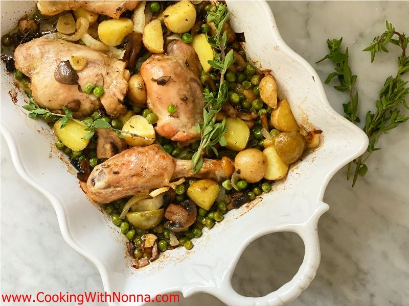 Baked Chicken Marsala with Peas Mushrooms & Potatoes