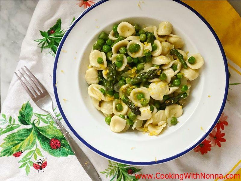 Orecchiette with Asparagus, Peas and Lemon Zest