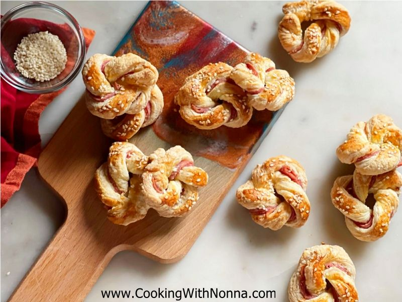 Puff Pastry Salami Knots