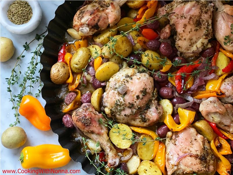 Roasted Chicken with Peppers, Potatoes & Olives