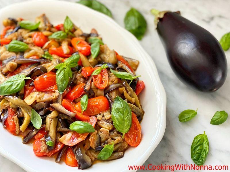 Roasted Eggplant with Tomato & Basil