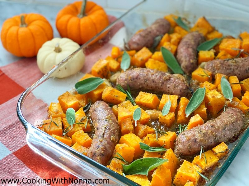 Roasted Sausage with Butternut Squash