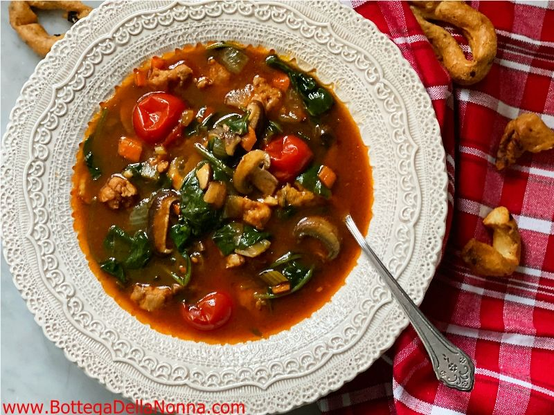 Spinach Tomato & Mushroom Soup with Chicken Sausage