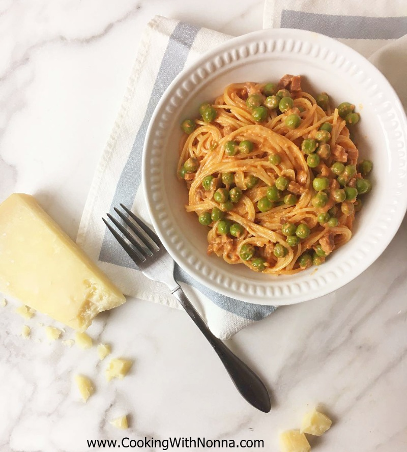 Capellini with Prosciutto and Peas in Pink Sauce