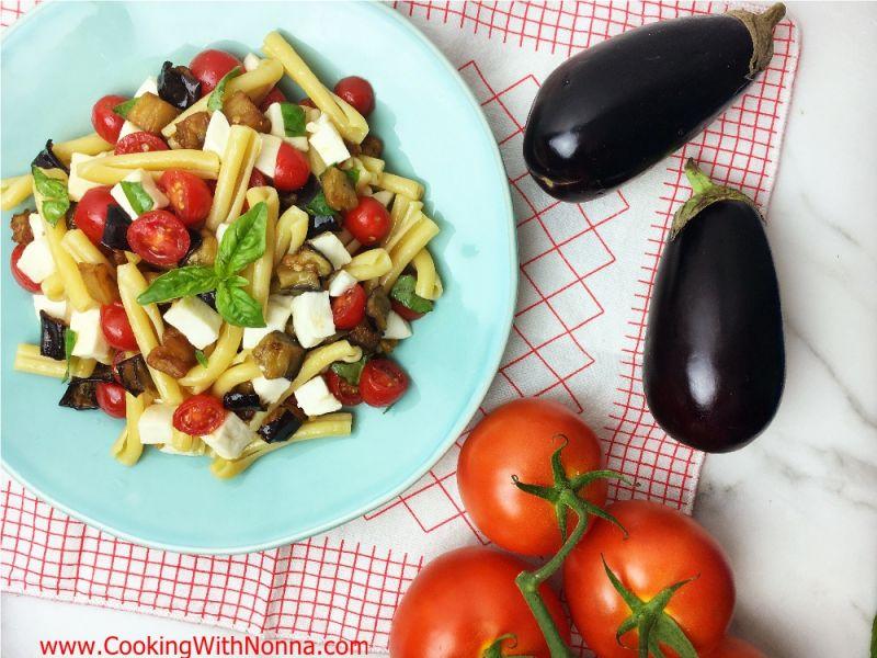 Sicilian Pasta Salad with Fried Eggplant, Tomatoes and Mozzarella