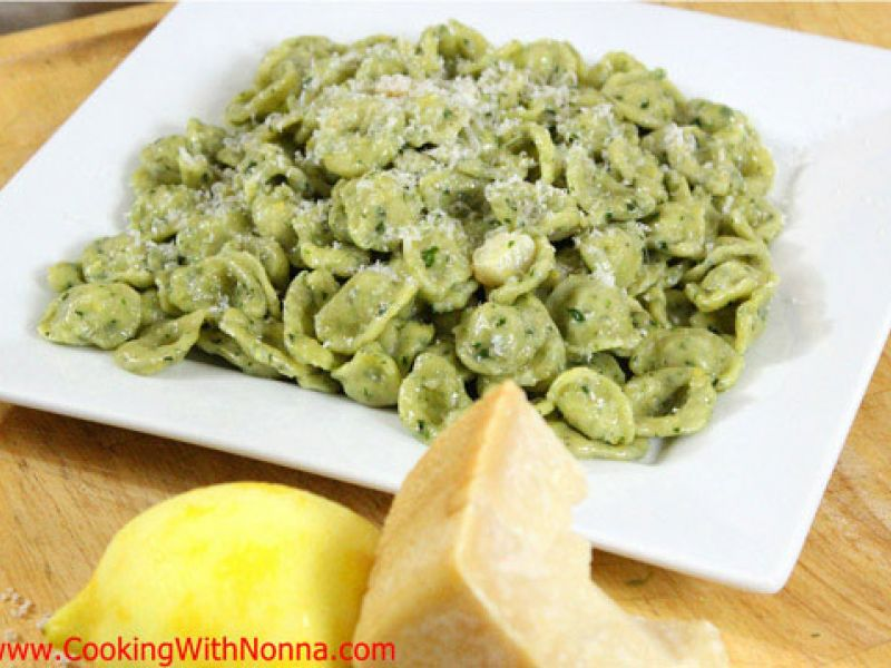 Basil Orecchiette with Garlic, Oil and Lemon Zest