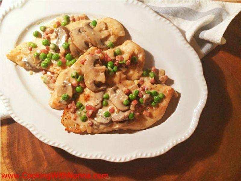 Creamy Chicken with Peas, Prosciutto and Mushrooms