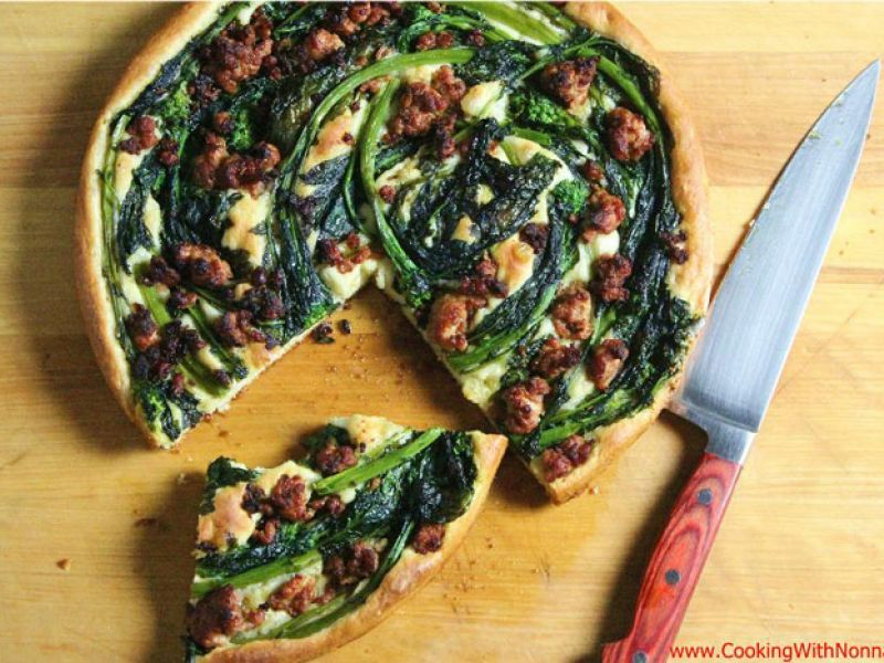 Focaccia with Sausage and Broccoli Rabe