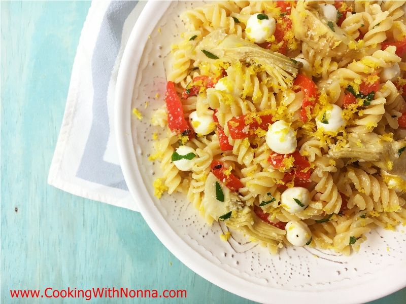Fusilli Pasta Salad with Roasted Red Peppers and Artichokes