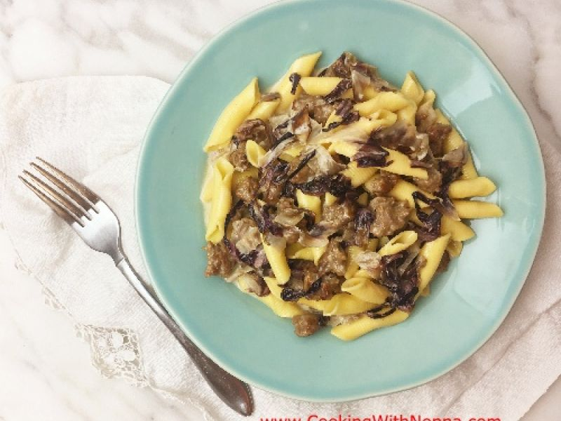 Garganelli with Sausage Radicchio and Cream