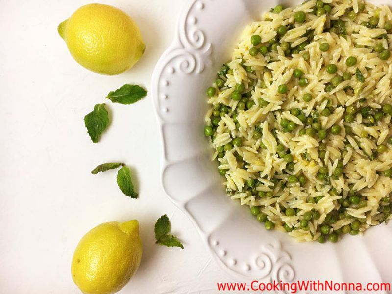 Lemon Orzo Pasta Salad with Peas and  Mint