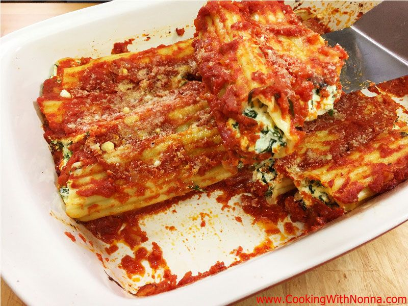 Manicotti with Spinach and Ricotta