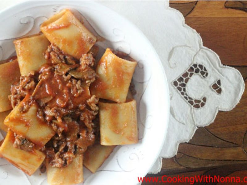 Paccheri with Porcini Ragu and Sausage