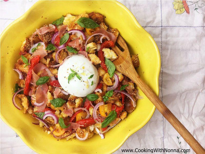 Panzanella Salad with Burrata