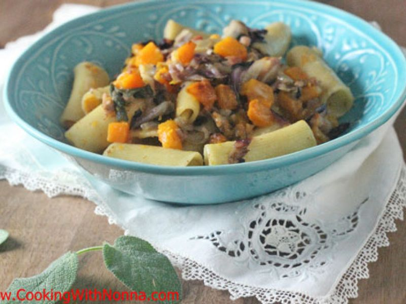 Rigatoni with roasted butternut squash, pancetta and radicchio