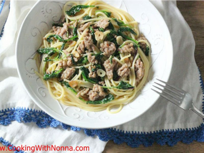 Spaghetti with Sausage and Baby Kale