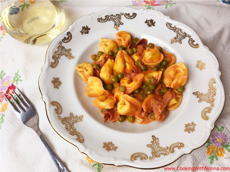 Tortellini with Peas and Prosciutto in Pink Sauce