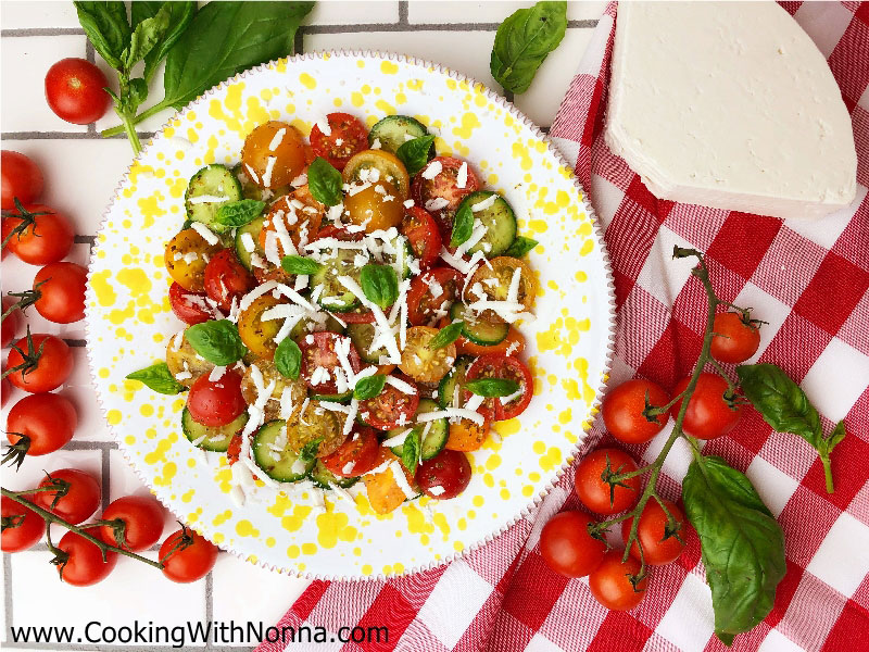 Tomato and Cucumber Salad with Ricotta Salata