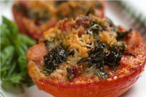 Roasted tomato with basil speck and asiago for Barbara seelig