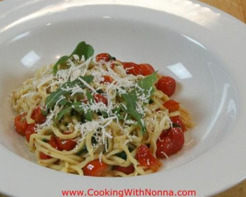 Homemade Troccoli with Tomatoes and Arugula