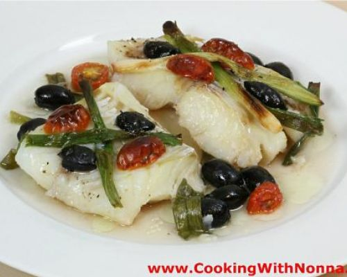 Baked Cod with Scallions and Olives
