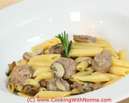 Penne with Sausage and Mushrooms