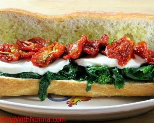Broccoli Rabe, Mozza and Sun Dried Tomatoes Sandwich