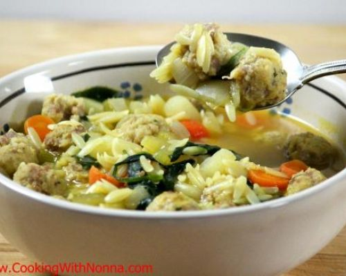 Spinach soup with sausage meatballs and orzo pasta for Baked pasta with meatballs and spinach