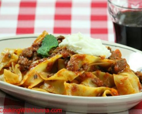 Pappardelle with Lamb Ragu` with Whipped Ricotta