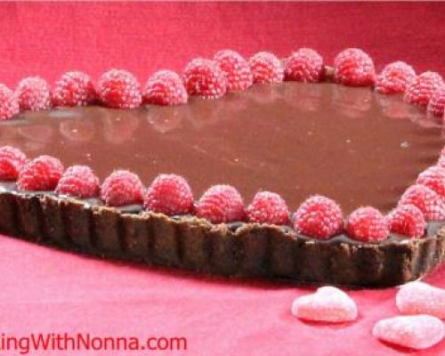 Nutella Raspberry Tart with Chocolate Ganache